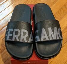 """$295 Mens Authentic Salvatore Ferragamo """"Amos"""" Slides Sandals Black/Gray US 13"""