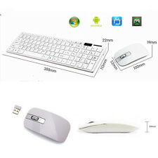 Ultrathin White 2.4G Optical Wireless Keyboard and Mouse USB Receiver