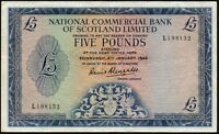 1966 NATIONAL COMMERCIAL BANK OF SCOTLAND LIMITED £5 BANKNOTE * L 198132 * gVF *