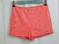 Charlotte Russe Orange Sequin Short Short Women Size S Waist 24 Stretch136-23248
