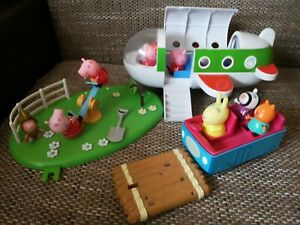 Peppa pig bundle lot Plane,Car and children garden with figures