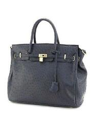 Emperia Ostrich Pattern Tote Handbag Purse Black Leather Womens Bag Carry