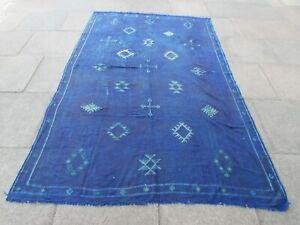 Vintage Kilim Traditional Hand Made Moroccan Blue Silk Large Kilim 267x174cm