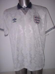 England Adult L Umbro Vintage 1990 Shirt Jersey Football Soccer Top Euro Gazza