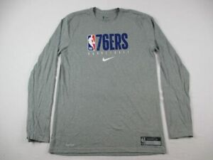 Philadelphia 76ers Nike Long Sleeve Shirt Men's Gray Dri-Fit NEW Multiple Sizes