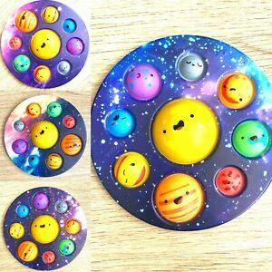 Pop Popper Fidget Toy Push It Poppet Bubble Stress Anxiety Relief Galaxy Planet&