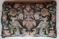 antique needlepoint petitpoint. SUPERB 19th. c. pillow cover floral birds. vase