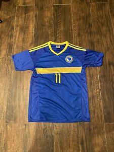 #11 Edin Dzeko Bosnia-Herzegovina Blue National Soccer Jersey Shirt Mens Medium