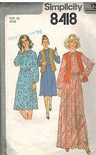 8418 Vintage Simplicity Sewing Pattern Misses Pullover Dress Vest Waistcoat OOP