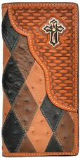 3D Western Mens Wallet Leather Rodeo Patchwork Ostrich Print Cross Concho W893