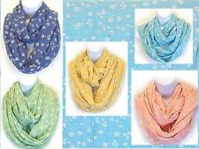 DAISY FLOWER print iNFINITY Scarf Lot of 30 (6 each of 5 colors)