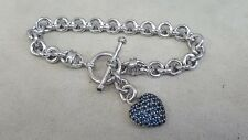 Rolo Link Blue CZ Heart Charm Toggle Bracelet Sterling Silver