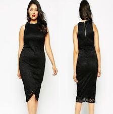 Sz 14 16 Black Sleeveless Lace Evening Formal Party Wrap Slim Midi Dress