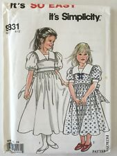 Girls Dress Pattern 9831 Simplicity Sz 4-12 Church Party Picture Day Flower Girl