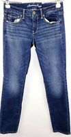 American Eagle Jeans Womens Size 6 Short Skinny Super Stretch Low Rise Med Wash