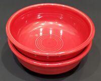 "2 Homer Laughlin FIESTA Scarlet Red Coupe Cereal or Dessert Bowls - 5 1/2"""
