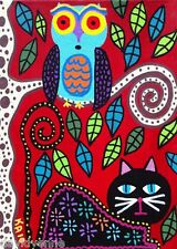 Cat Owl Tree Red Mexican Flowers Kerri AMBROSINO ACEO Canvas Giclee Print ATC