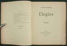 DUHAMEL - ÉLÉGIES - EO 1920 SUR HOLLANDE N°-  POESIE & BALLADE FLORENTIN PRUNIER
