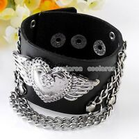 Punk Rock Men Wing Heart Link Chain Black Leather Bracelet Cuff Wristband Gothic