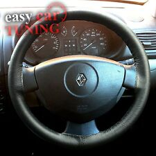 FOR RENAULT CLIO II 1998-2010 BLACK GENUINE REAL LEATHER STEERING WHEEL COVER