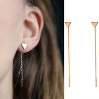 Gold/Silver Toned Triangle Heart Long Tassel Ear Stud Fashion Alloy Earrings S