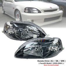 Black Housing Headlight Lamp Set For Honda Civic 1.5i 1.6i EK EK4 EK9 1999-00