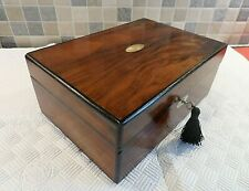 VICTORIAN 19thC INLAID ROSEWOOD BOX - LOVELY RELINED INTERIOR - LOCK & KEY