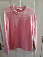 WAREHOUSE WOMENS PINK CREW NECK JUMPER SIZE 12 PIT TO PIT 19 LENGTH 25 INCH