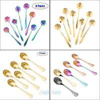 Set of 14 Flower&Shell Stainless Steel Coffee Spoon Demitasse Spoons Set Desser