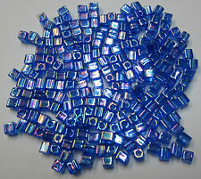 20g Miyuki Square Glass Beads 4mm Transparent Cobalt Blue Rainbow Bead #290