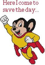 CROSS STITCH+ CRAFT PATTERN Mighty Mouse Super Hero Caroon TV Show Here He Comes
