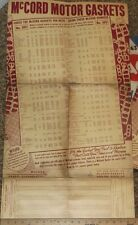1949 Mc Cord Gasket Specification Chart Parts Sheet 1930s -1949