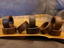 New listing Set of 8 Vintage Wood Napkin Rings with Gold Color Metal Inlay Mid Century