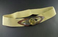 Vintage Omega Tan Stretch Cinch Belt Tribal Metal Arrow Buckle Size L Womens