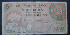 Nederlands Indie  Netherlands Indies  5 gulden 1946 Javasche bank P88