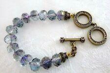 HEIDI DAUS Faceted Lavender-Blue Swarovski Crystal Toggle Bracelet Adjustable