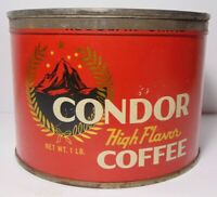Old Vintage 1930s CONDOR MOUNTAIN GRAPHIC KEYWIND COFFEE TIN 1 POUND NEW YORK NY