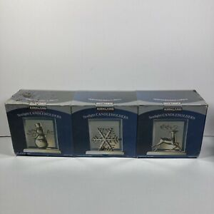 (3) Kirkland Frosted Beveled Christmas Reindeer 3 Pack Tealight Candle Holder