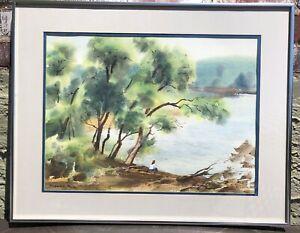"Ranulph Bye Original Watercolor Painting: ""River Bank"" 1973 Framed. Not a Print!"