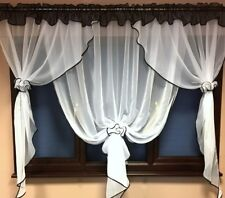 New Beautiful White Voile Net Curtains with Various Colours Piping HOME WINDOW