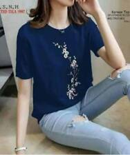 Korean Cherry Blossom Shirt (Blue)