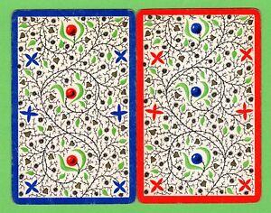 2 Single VINTAGE playing/swap cards PATTERNS LEAVES FLOWERS BERRIES P8