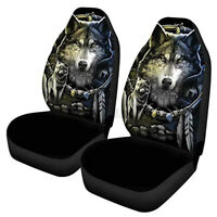 Universal Car Van Front Seat Covers Seat Protectors Indian Wolf Pattern