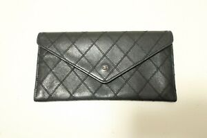 Authentic CHANEL Bicolore Leather Black Purse Wallet  #8128