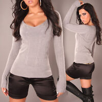 NEW SEXY RIBBED ❤LIGHT GREY ❤ LADIES V-NECK KNIT JUMPER SWEATER 12 - 14 GORGEOUS