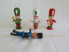 Wood Christmas Ornament Band Leader Drum Instruments Music Total 4 Metal Painted