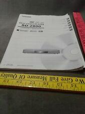 Toshiba dvd video player sd-2800 manual