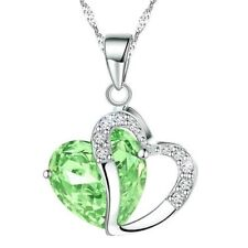 Fashion Crystals Heart Shape Pendant Necklace Pendant + Gift Box (Lime Green)