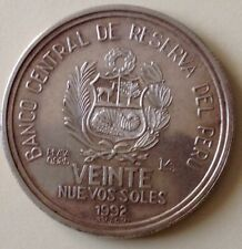 MONEDA DE PLATA . VEINTE NUEVOS SOLES DEL PERÚ AÑO 1992 . PESO 33,5 GR PLATA 925