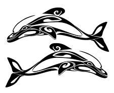 2 x Large DOLPHIN decals sticker set.Boat,Car,Caravan,Motorhome 4WD.